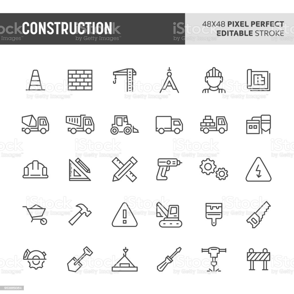 Construction Icon Set royalty-free construction icon set stock illustration - download image now
