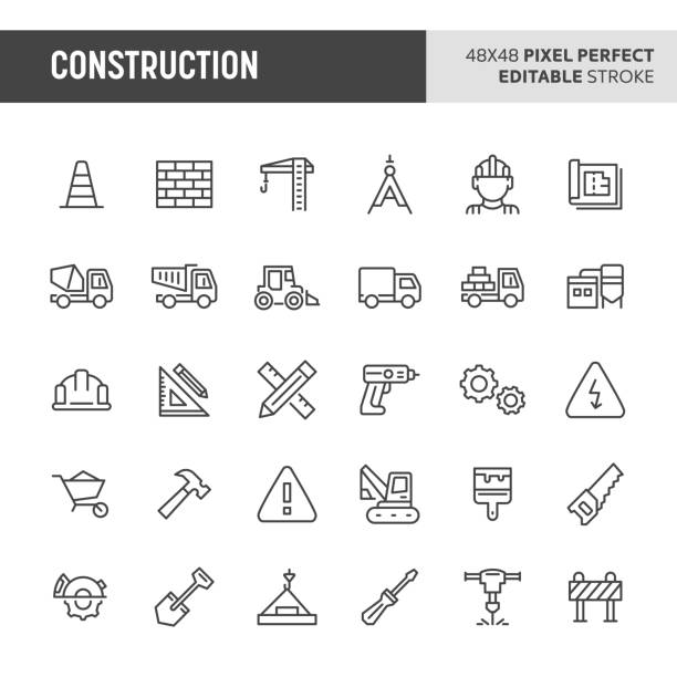 Construction Icon Set 30 thin line icons associated with construction. Symbols such as crane, working tools, transportation and construction sign are included in this set. 48x48 pixel perfect vector icon & editable vector. carpenter stock illustrations
