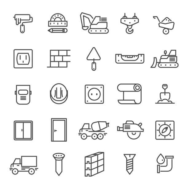 bildbanksillustrationer, clip art samt tecknat material och ikoner med konstruktion ikoner 3 - illustration - construction workwear floor