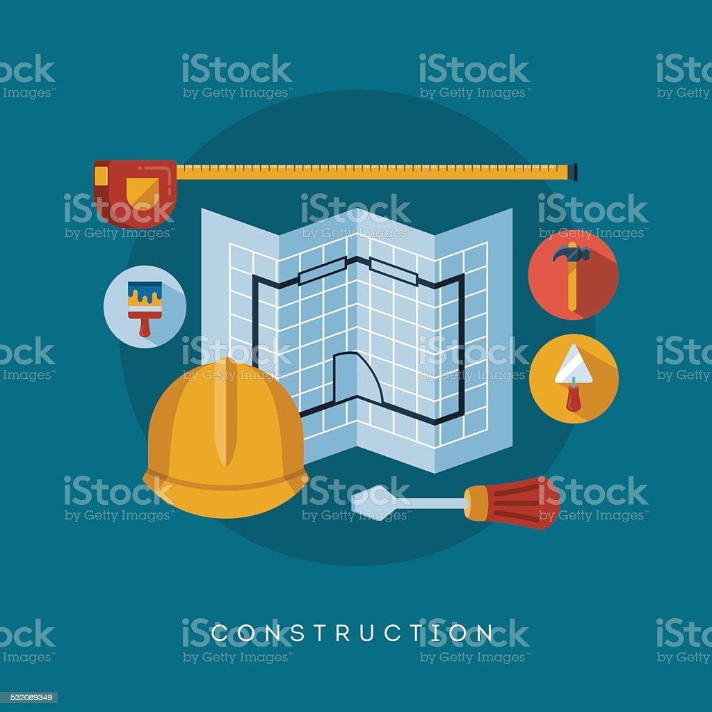 construction icons and symbols vector art illustration