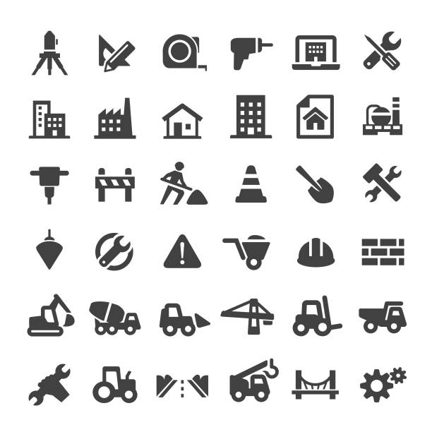 construction icons - big series - konstrukcja budowlana stock illustrations