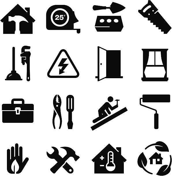construction icons  - black series - carpenter stock illustrations, clip art, cartoons, & icons
