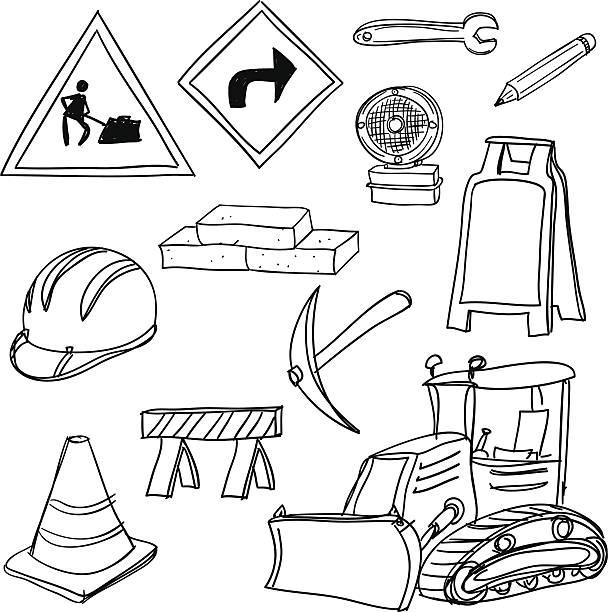 stockillustraties, clipart, cartoons en iconen met construction icons in black and white - shovel
