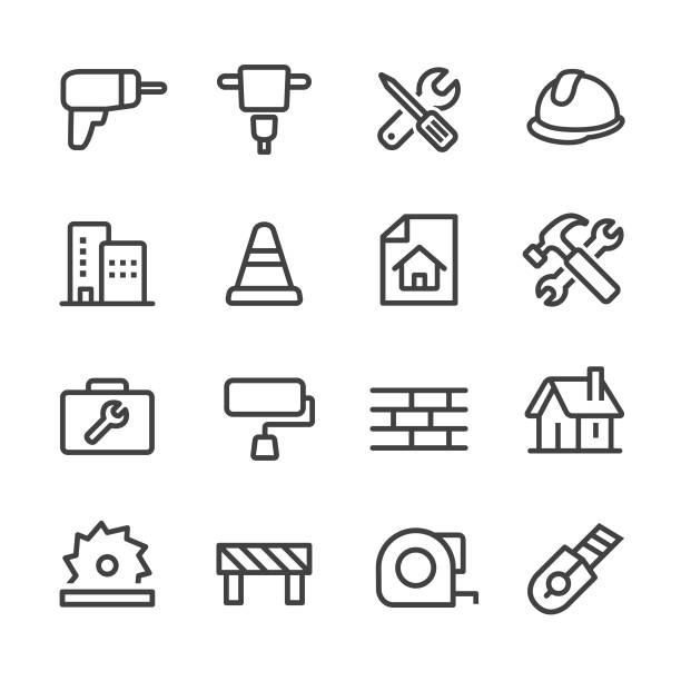 bau-icons - line serie - ziegelwände stock-grafiken, -clipart, -cartoons und -symbole