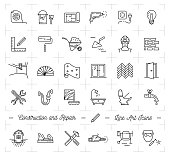 Construction icons Repair house Home renovation. Building and household tools. Repair thin line art icons