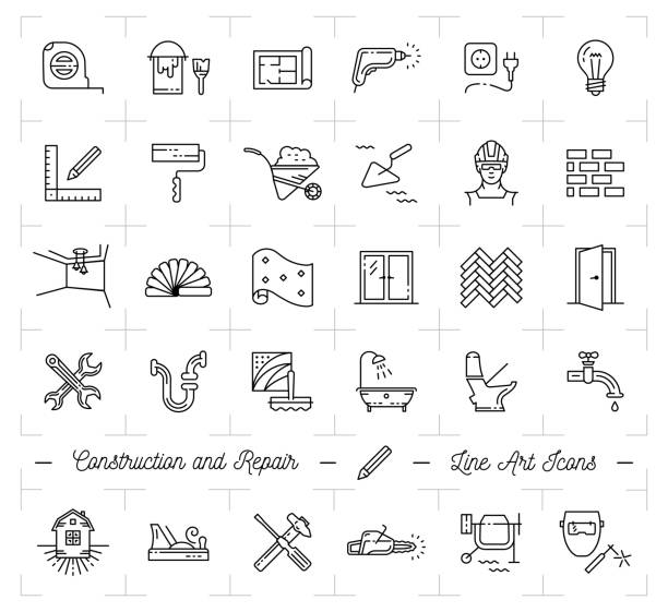 Construction icons Repair house Home renovation. Building and household tools. Repair thin line art icons Construction icons Repair house Home renovation. Building and household tools. Repair thin line art icons, Vector flat illustration bathroom designs stock illustrations