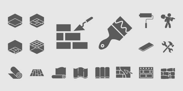 bildbanksillustrationer, clip art samt tecknat material och ikoner med bygg ikoner set 11 - construction workwear floor