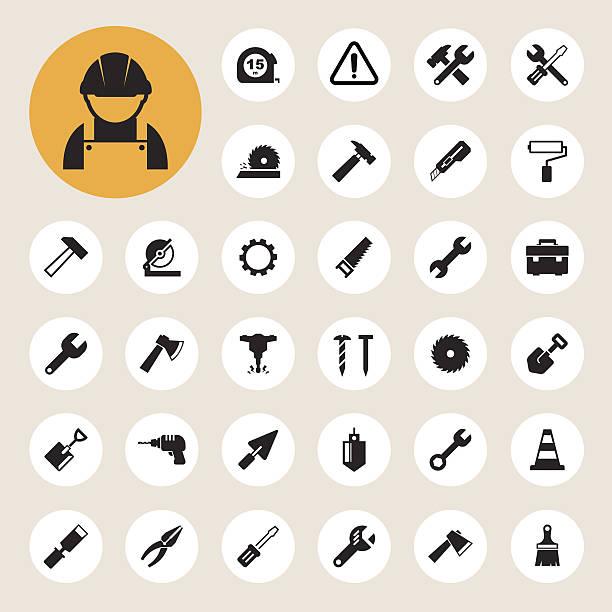 Construction Icons set vector art illustration