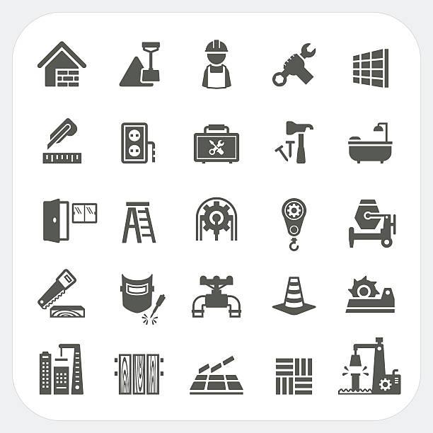 construction icons set - metallverarbeitung stock-grafiken, -clipart, -cartoons und -symbole