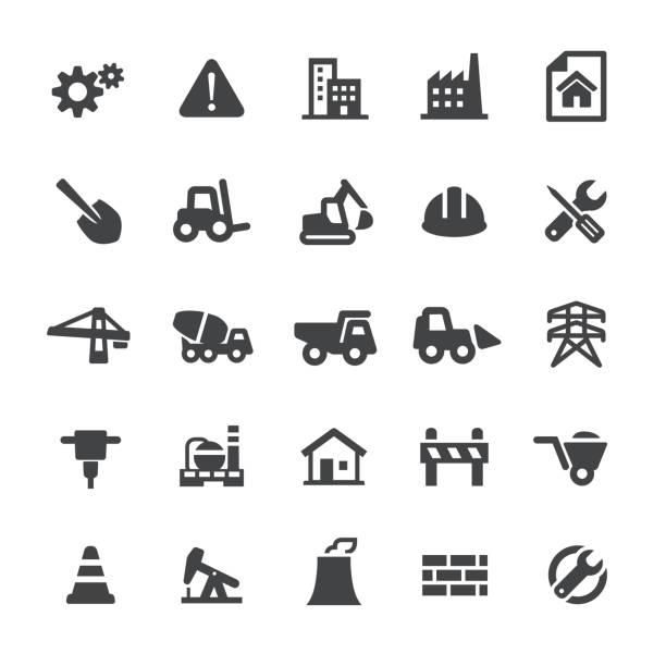 ilustrações, clipart, desenhos animados e ícones de ícones de construção - série smart - operário de construção