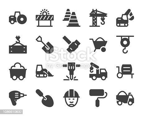 Construction Icons Vector EPS File.