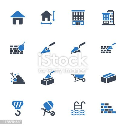 Construction icons in blue gray color - Set 1