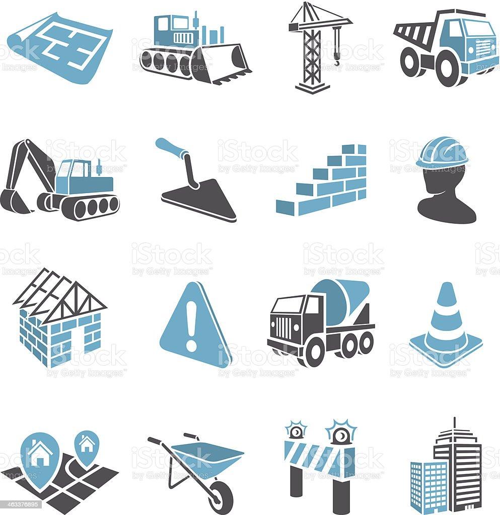 3D Construction Icons vector art illustration