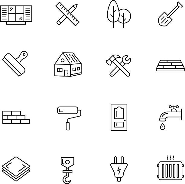 Construction Icons Construction, building and home repair thin line icons vehicle door stock illustrations