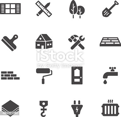 Construction, building and home repair icons. Simple flat vector icons set on white background