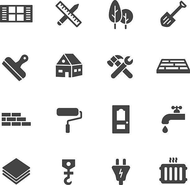 Construction Icons Construction, building and home repair icons. Simple flat vector icons set on white background diy stock illustrations