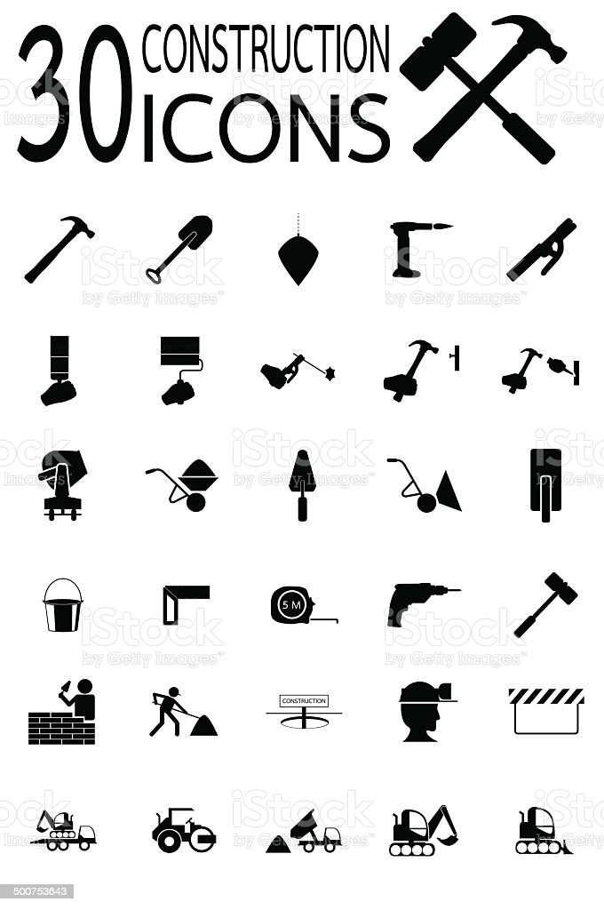 Construction Icons vector art illustration