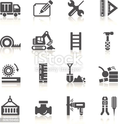A collection of different kinds of construction icons. It contains hi-res JPG, PDF and Illustrator 9 files.