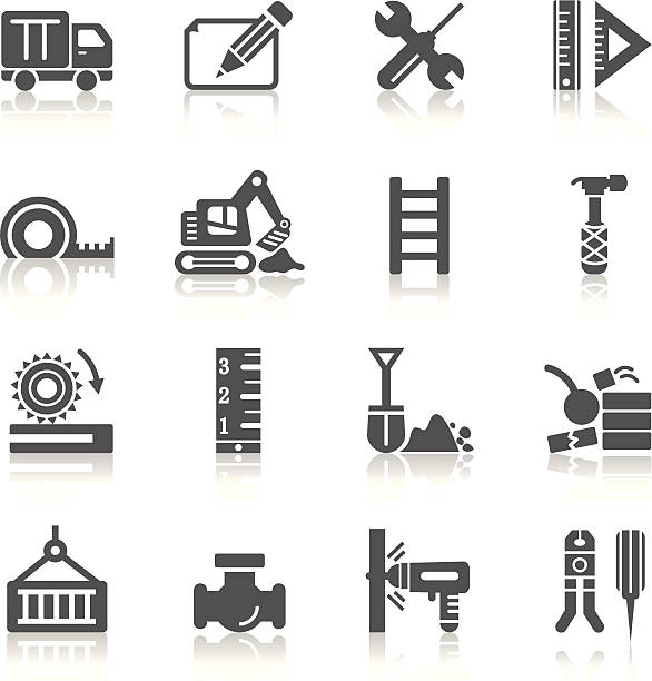 Construction Icons A collection of different kinds of construction icons. It contains hi-res JPG, PDF and Illustrator 9 files. personal land vehicle stock illustrations