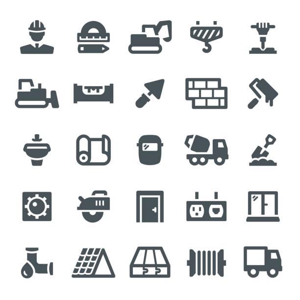 bildbanksillustrationer, clip art samt tecknat material och ikoner med konstruktion ikoner - construction workwear floor