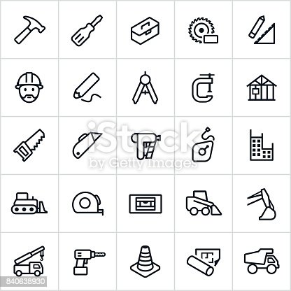 A set of construction icons in line/outline style. The icons include construction equipment, construction worker, work tools, and other related themes.