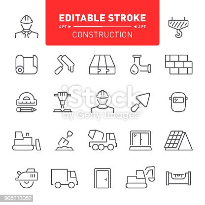 Construction industry, editable stroke icon set, repair, home repair, icon, work tools