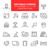 Construction industry, editable stroke icon set, repair, home repair, icon, work tools