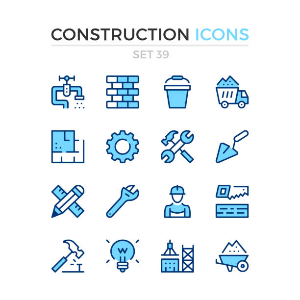 construction icons. vector line icons set. premium quality. simple thin line design. stroke, linear style. modern outline symbols, pictograms - konstrukcja budowlana stock illustrations