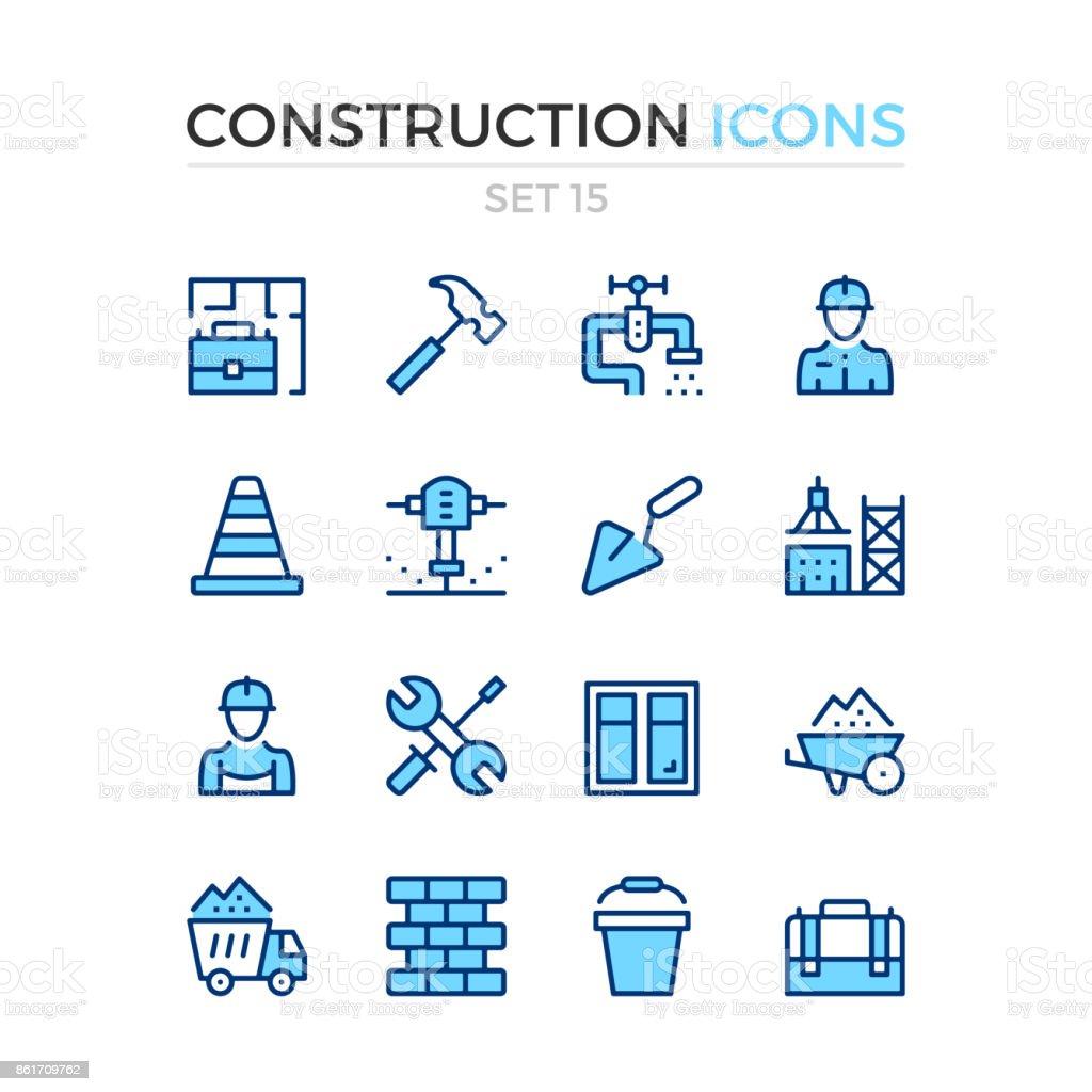 Bau-Symbole. Vektor-Linie-Icons set. Premium-Qualität. Einfache dünne Line-Design. Schlaganfall, linearen Stil. Moderne Gliederungssymbole, Piktogramme – Vektorgrafik
