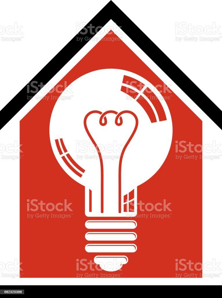 Bauidee Sparen Strom Zu Hause Vektor3d Glühbirne Und Ein Haus ...