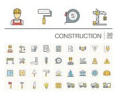 Construction, industrial color vector icons
