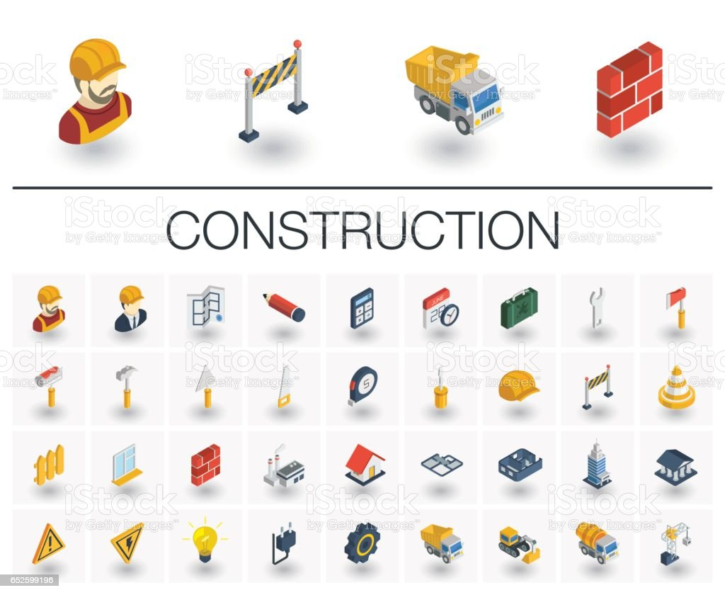 Construction, industrial isometric icons. 3d vector vector art illustration