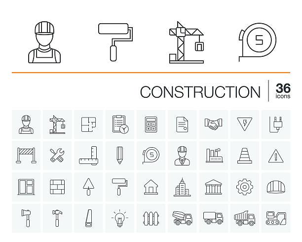 ilustrações, clipart, desenhos animados e ícones de construção industrial ícones vetorizados - operário de construção