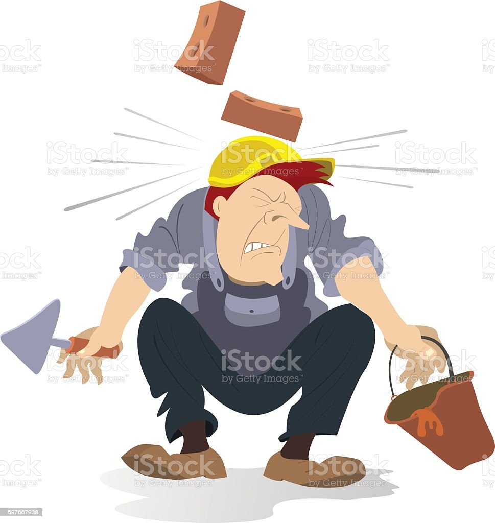 Construction industry accident vector art illustration