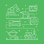 Construction Industry Concept Design Template. Outline Symbol Abstract