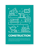 Construction Industry Concept Line Style Cover Design for Annual Report, Flyer, Brochure.