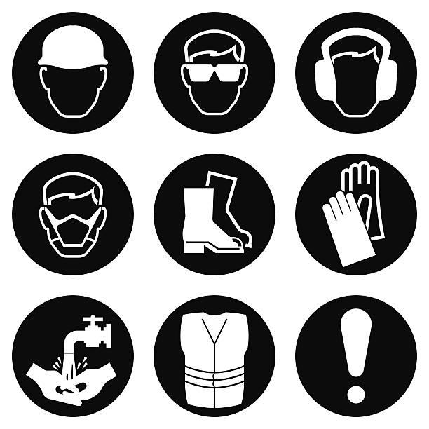 bau-industrie symbole - schutzbrille stock-grafiken, -clipart, -cartoons und -symbole