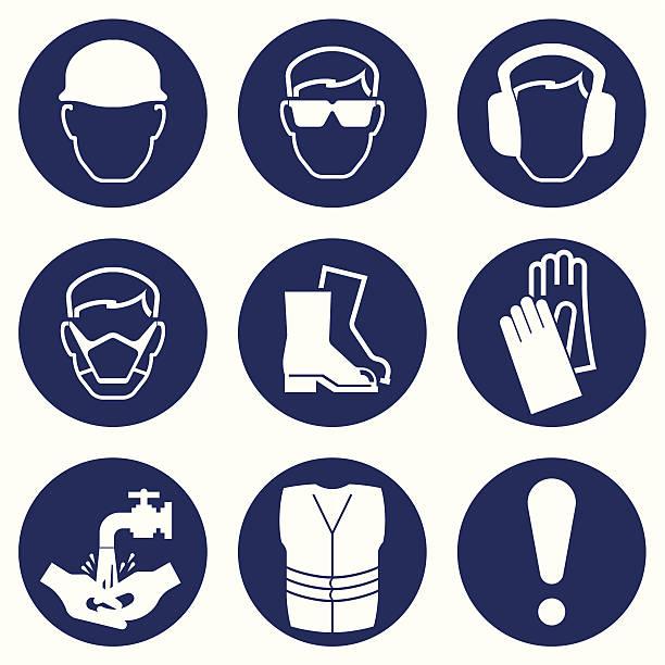 ikony przemysłu budowlanego - kask ochronny odzież ochronna stock illustrations