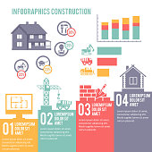 Construction engineering and building infographic elements set vector illustration