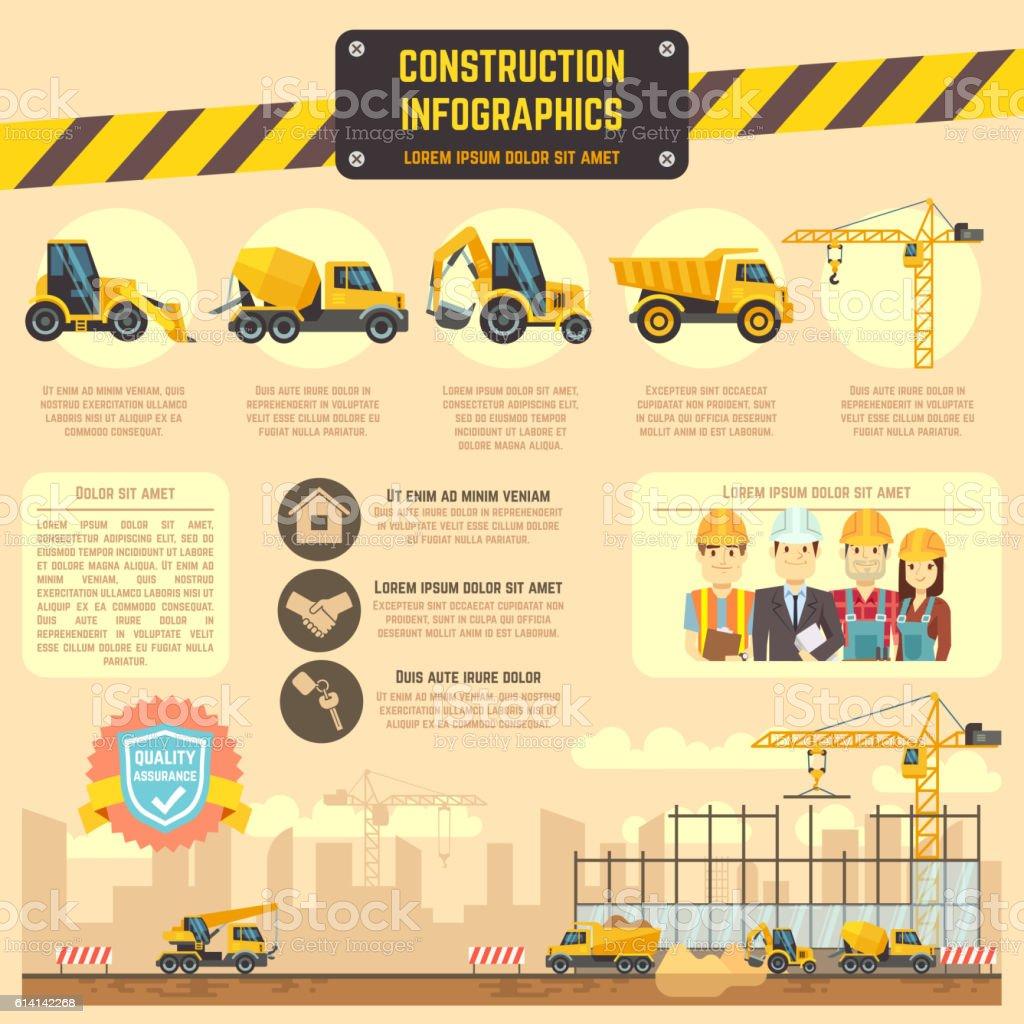 Construction infographic vector template with machinery, charts, diagrams for business - ilustração de arte em vetor
