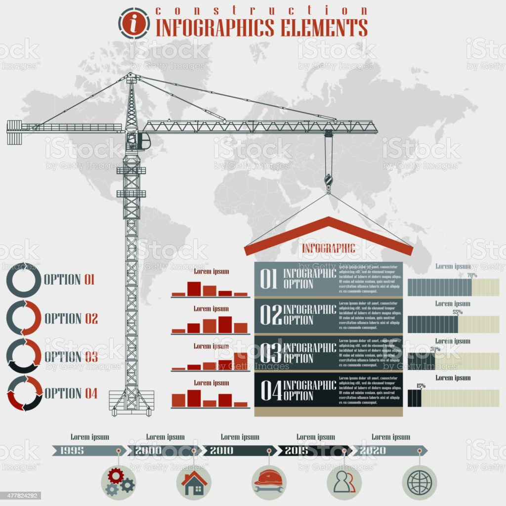 Construction  Infographics elements vector art illustration