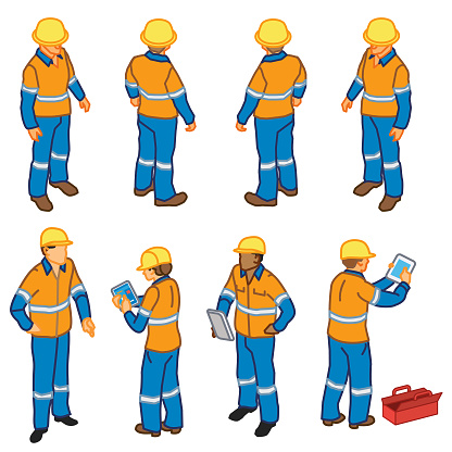 Construction Inspection Workers (isometric)