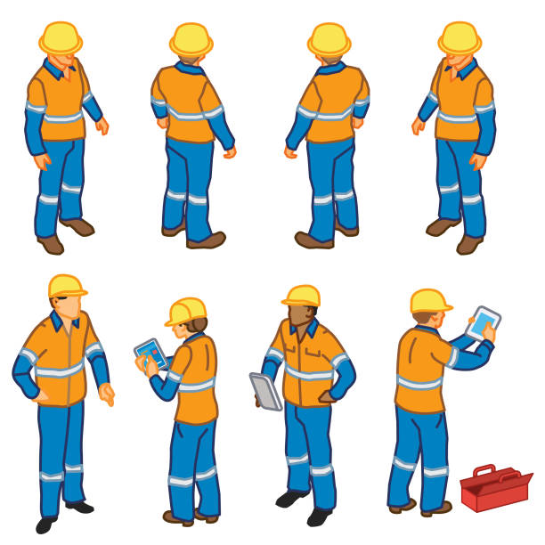 construction inspection workers (isometric) - russelltatedotcom stock illustrations