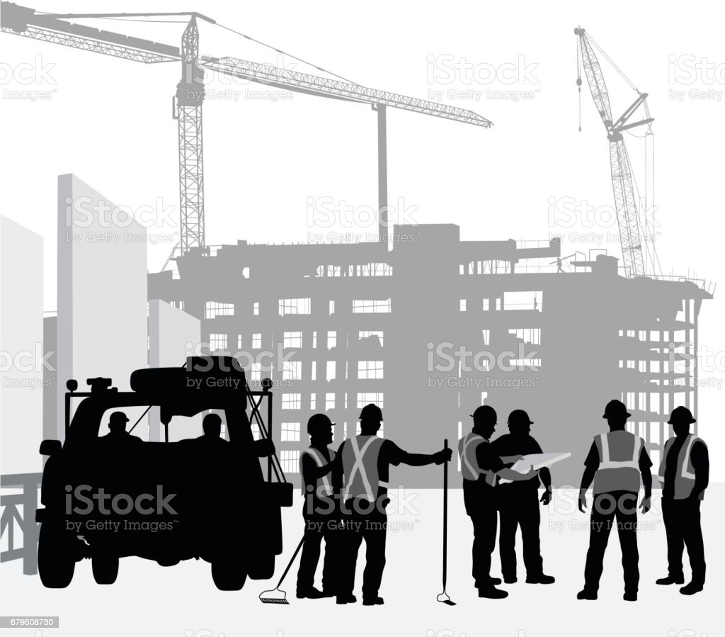 Construction Instruction silhouette illustration of construction workers and work truck with cranes and buildings in the background Adult stock vector
