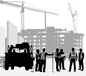 silhouette illustration of construction workers and work truck with cranes and buildings in the background