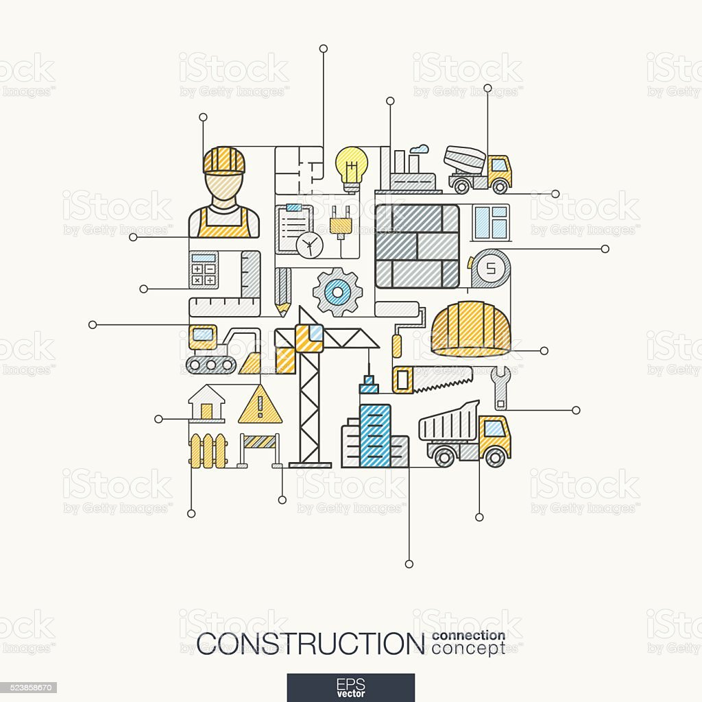Construction integrated thin line symbols. Modern color vector concept vector art illustration