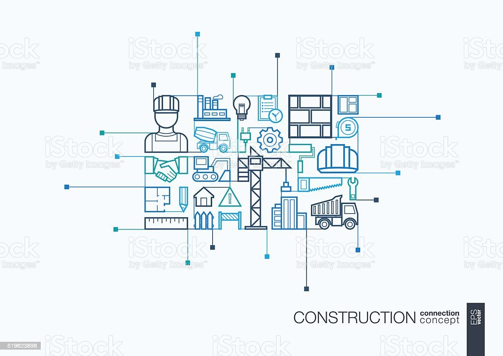 Construction integrated thin line symbols vector art illustration
