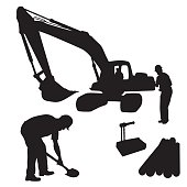 A vector silhouette illustration of construction workers and construction equipment including a crane, shovel, and a pile of wood.