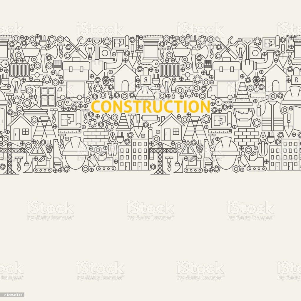 Construction Line Art Seamless Web Banner vector art illustration