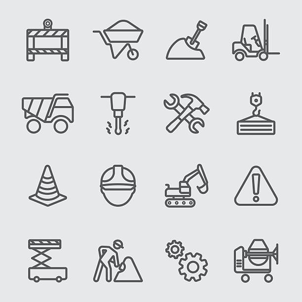 Construction line icon Construction line icon safety american football player stock illustrations
